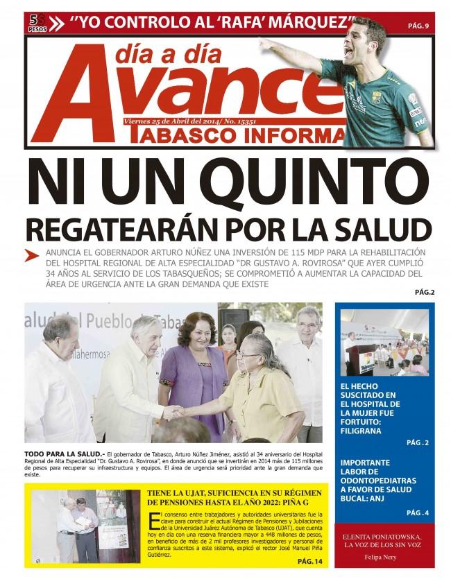 Edición Impresa 25 de Abril del 2014