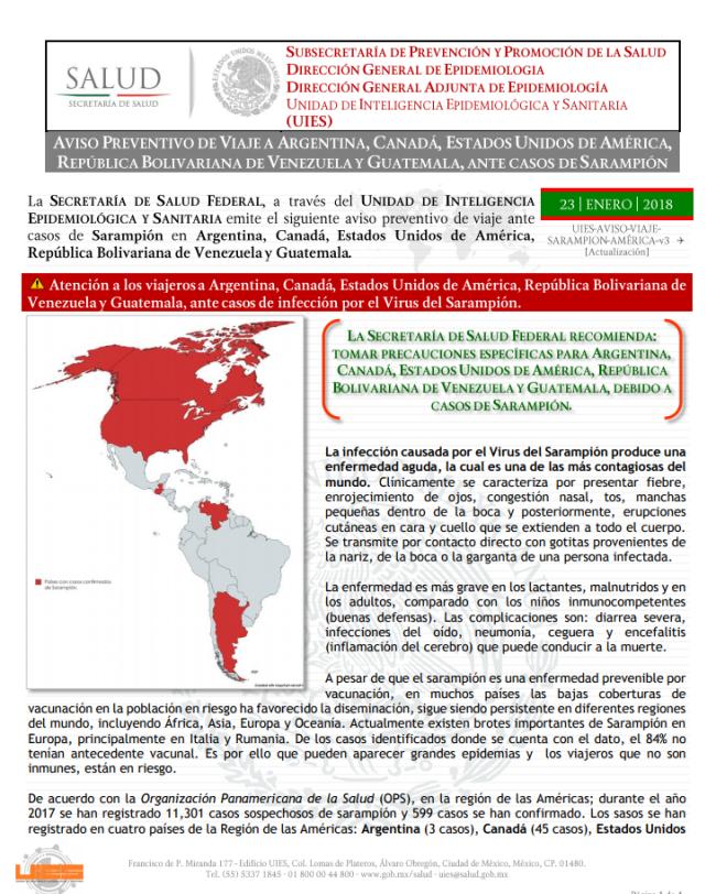 Alerta de viaje por brote de sarampión en Sudamérica y Europa